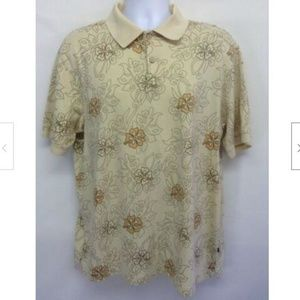 Men's  Floral Polo Rugby Shirt Beige Size L
